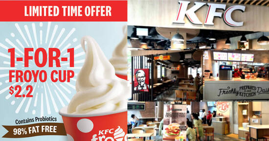 Featured image for KFC S'pore is offering 1-for-1 Froyo Cup at 32 selected outlets from 12 Oct 2021