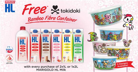 Featured image for Free limited edition tokidoki Bamboo Fibre Container with any MARIGOLD HL Milk purchase till 21 Oct 2021