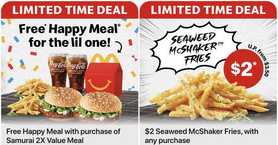 Featured image for McDonald's: Free Happy Meal with purchase of Samurai 2X Value Meal and $2 Seaweed McShaker Fries till 10 Oct 2021