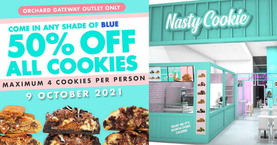 Featured image for Nasty Cookie is offering 50% off all a-la-carte cookies at Orchard Gateway when you come in blue on 9 Oct 2021