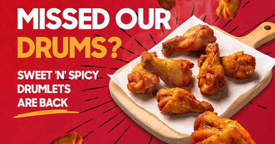 Featured image for Pizza Hut Sweet 'N' Spicy Drumlets & Honey Roasted Wings are back at S'pore stores from 4 Oct 2021