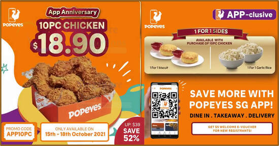 Featured image for Popeyes S'pore is offering 10pc chicken for $18.90 along with 1-for-1 sides from 15 - 18 Oct 2021