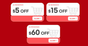 Featured image for Qoo10: Super Sale – grab $5, $15 & $60 cart coupons daily till 21 Oct 2021
