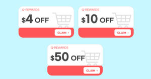 Featured image for Qoo10: Super Sale – grab $4, $10 & $50 cart coupons daily till 9 Oct 2021