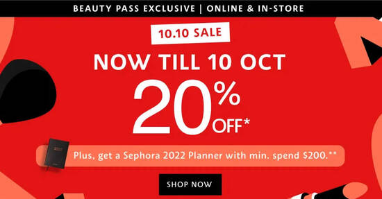 Featured image for Sephora 10.10 Beauty Pass Sale offers 20% off online till 10 Oct 2021