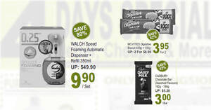 Featured image for $9.90 (U.P. $49.90) Walch Speed Foaming Automatic Dispenser + Refill 350ml, $3 Cadbury and more deals at Sheng Siong till 17 Oct 2021