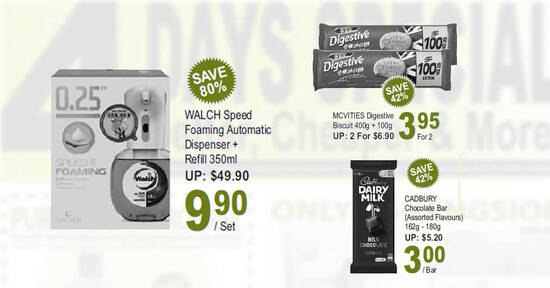 $9.90 (U.P. $49.90) Walch Speed Foaming Automatic Dispenser + Refill 350ml, $3 Cadbury and more deals at Sheng Siong till 17 Oct 2021