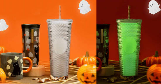Featured image for Starbucks S'pore new Halloween Collection has glow-in-the-dark bling cold cup and colour-changing mug from 6 Oct 2021