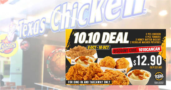 Featured image for Texas Chicken S'pore is offering a $12.90 (usual $21.60) dine-in/takeaway deal till 10 Oct 2021