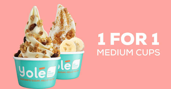 Yolé S'pore is offering 1-for-1 all medium cups on Sunday, 17 Oct 2021 (1pm – 7pm)